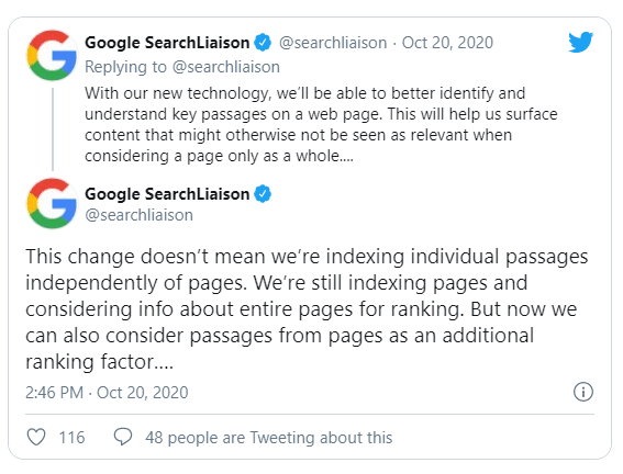 Anúncio Google no tweitter sobre passage indexing