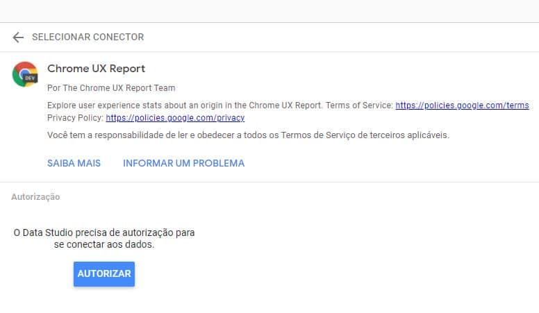 Autorização CrUx report Core Web Vitals