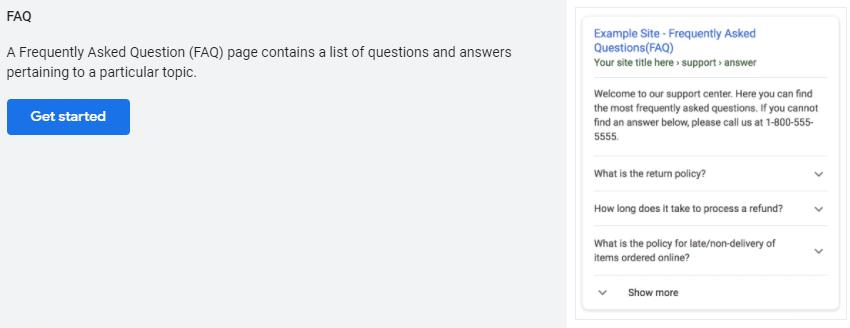 Dados estruturados FAQ