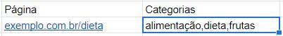 Exemplo de lista de tags para aplicar split