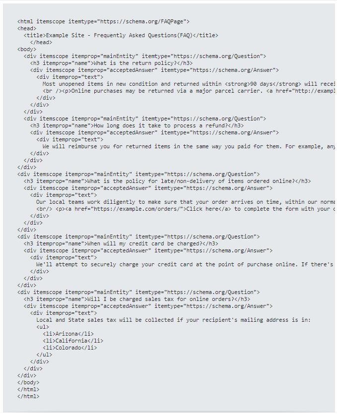 Implementação de schema FAQ