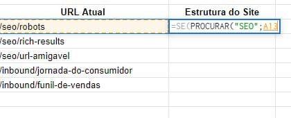 Passo 1 fórmula do Sheets PROCURAR()