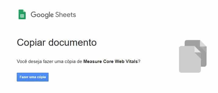 Planilha Core Web Vitals passo 1