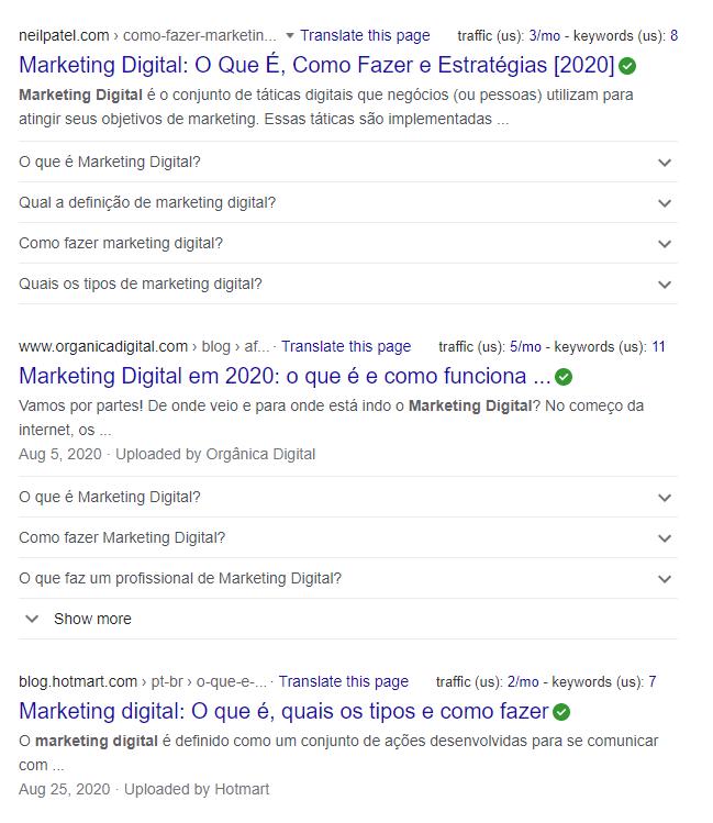 SERP de marketing digital
