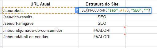 final fórmula PROCURAR()