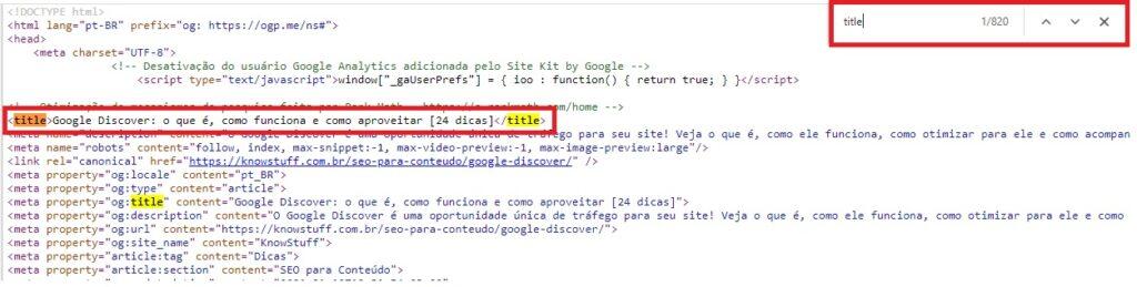 Acessando o código fonte para checar a title manualmente