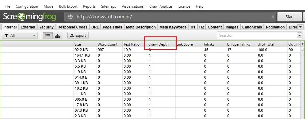 Crawl Depth, vendo o nível de profunbdiadde de cada página no site
