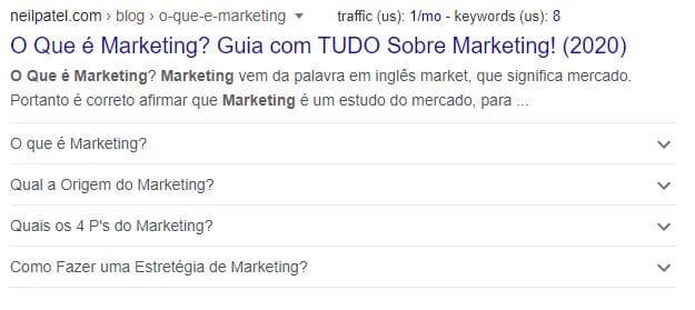 Exemplo de rich snippet na SERP sobre o que é marketing
