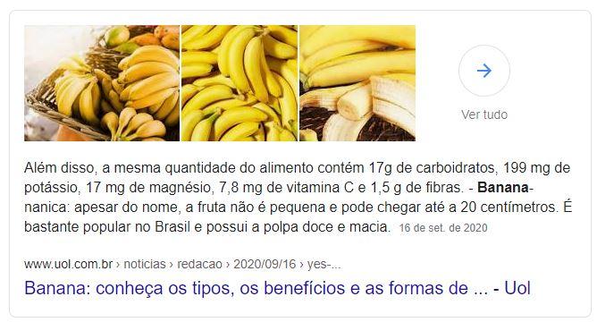 Exemplo de title tag nos resultados da pesquisa por banana na SERP do Google