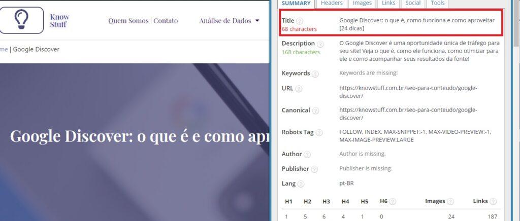 Extensão SEO META in 1 CLICK para ver a title tag da página