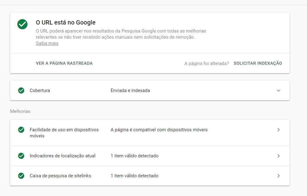 Dados da ferramenta de inspeção do Google Search Console