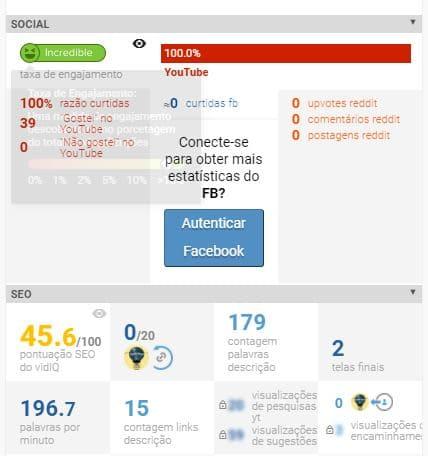 Exemplo de estatísticas do vidIQ