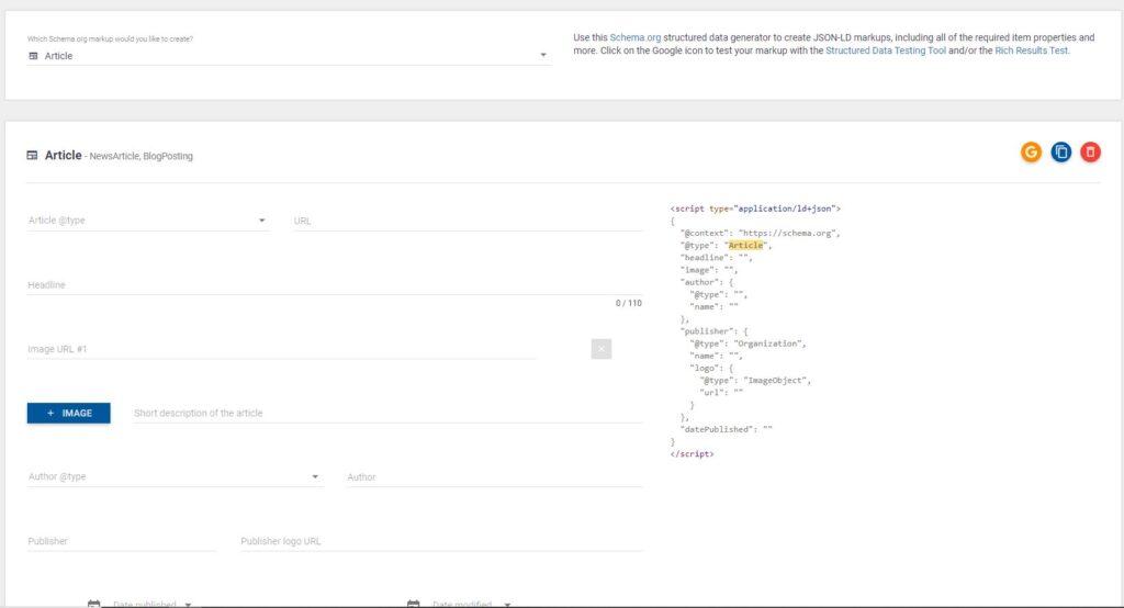 Geração automática do Schema de article pela ferramenta technical seo