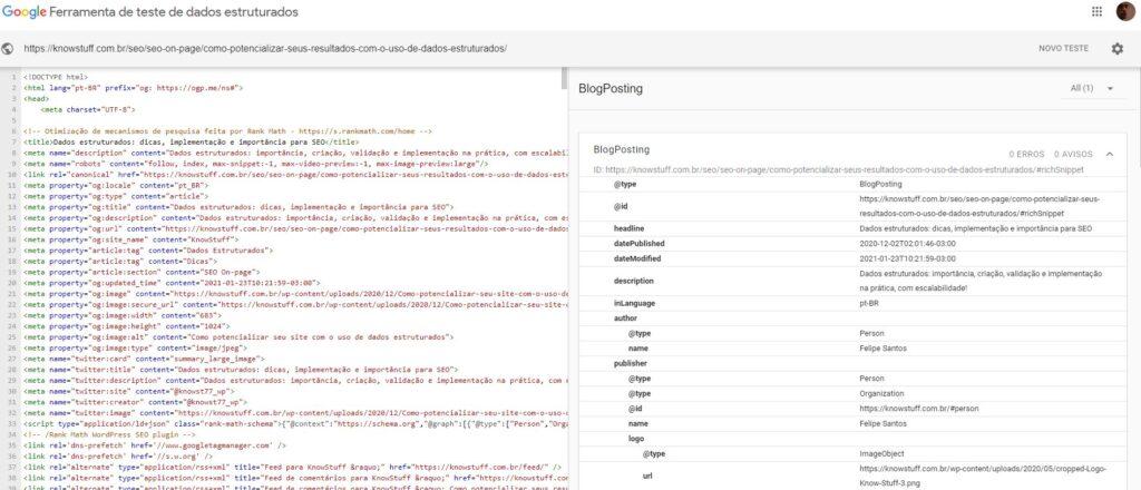 Print da Ferramenta de teste de dados estruturados do Google