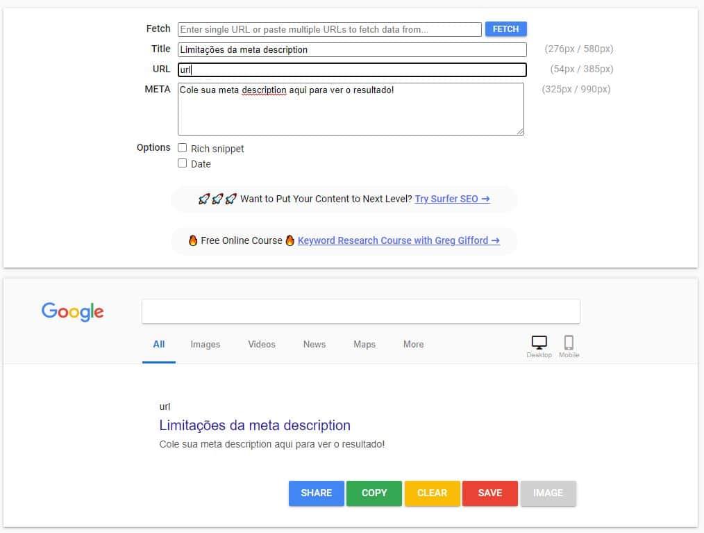 Print da ferramenta SERPsim, que simula um resultado na busca do Google para verificar a limitação de caracteres da meta description