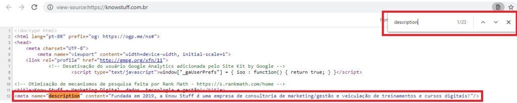 Print do código fonte da home da know sutff, com destaque para a marcação HTML meta description