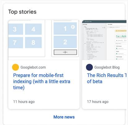 Print dos top stories do Googe que são conquistados através da marcação schema de Article