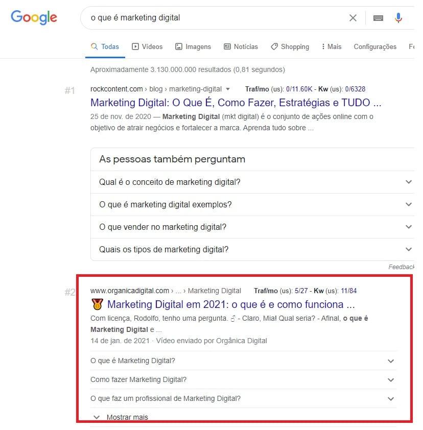 Rich Snippet de FAQ Page no Google para a busca por o que é marketing digital