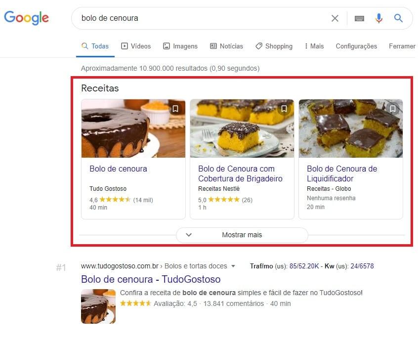 Rich Snippet de Receita no Google para a busca por bolo de cenoura