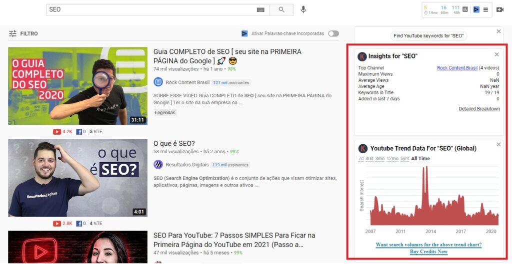 Widget da extensão Keywords Everywhere apreacendo por uma busca no YouTube para SEO