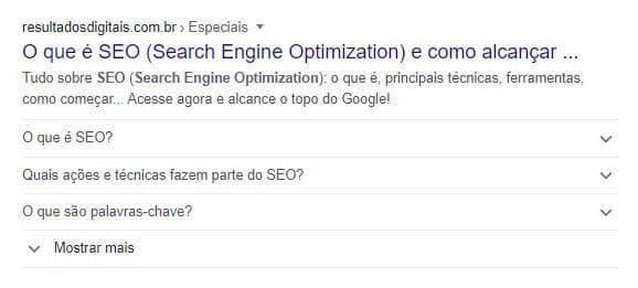 Exemplo de FAQ Page - Rich Snippet - na SERP do Google