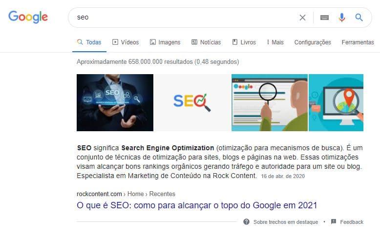 Exemplo de Featured Snippet na SERP do Google