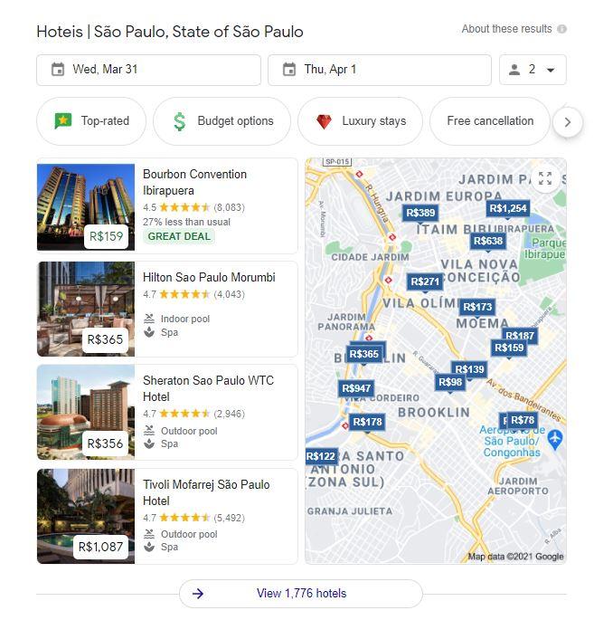 Exemplo de Local Teaser Pack na SERP do Google com busca por hoteis em sao paulo