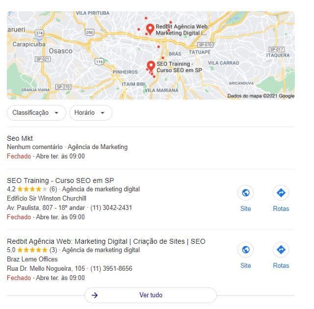 Exemplo de mapa na SERP do Google