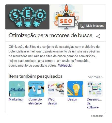 Exemplo de painel de conhecimento na SERP do Google