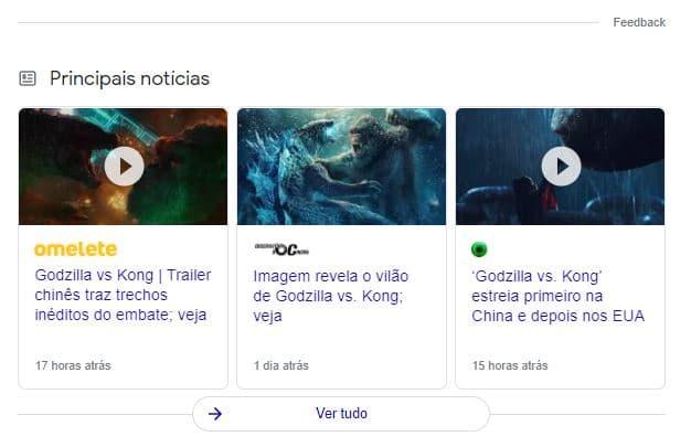 Exemplo de principais notícias no Google para Kodzilla vs Kong
