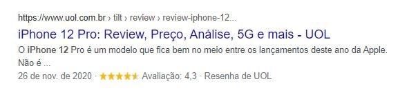 Exemplo de resultado com Review na SERP do Google para a busca por iPhone 12