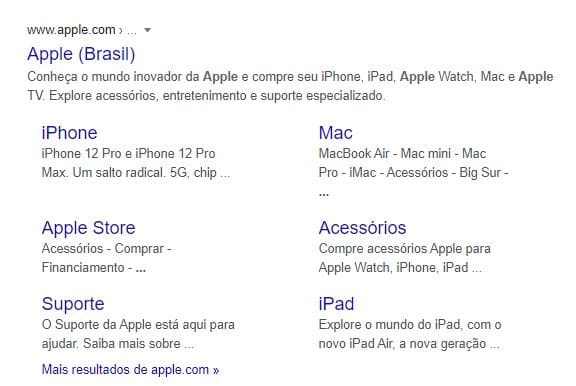 Exemplo de resultado com Site Links na SERP do Google para a busca por Apple