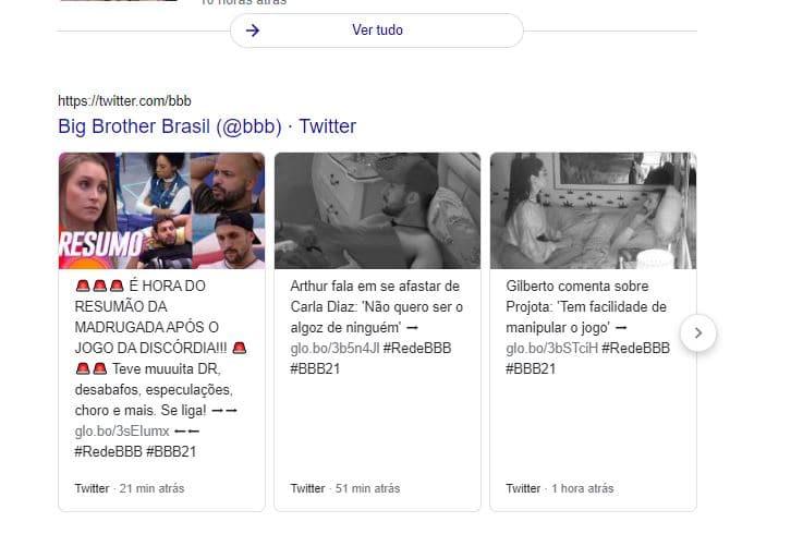 Exemplo de resultados com Tweet na SERP do Google para a busca por BBB21