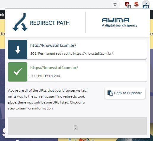 Print com exemplo de uso da extensão do chrome chamada redirect path para verificar a resposta HTTP do site