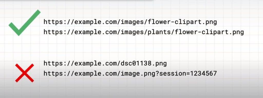 Print de exemplo de construção de URLs de qualidade para as imagens, um exemplo negativo tem vários número e caracteres aleatórios, enquanto o outro tem uma estrutura organizada e clara