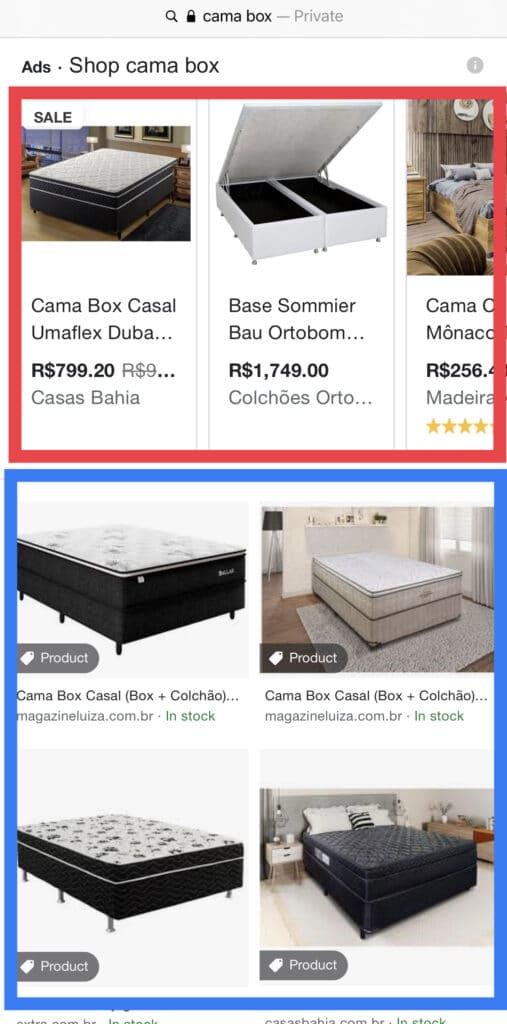 Print de resultado no Google Imagens pela pesquisa por Cama Box