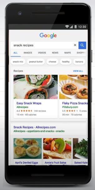 Print de resultado de rich snippet com imagens em SERP features na busca do Google