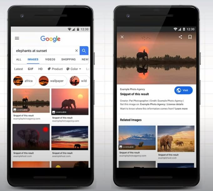 Print de resultados pela busca de imagens no Google Imagens