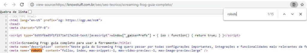 Print de validação da meta robots usando o código fonte da página