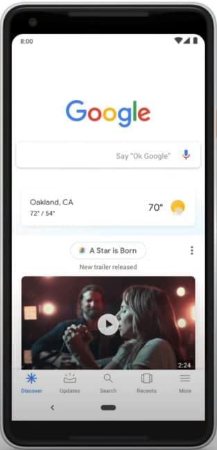 Print do feed do Google Discover, onde imagens tem um destaque forte