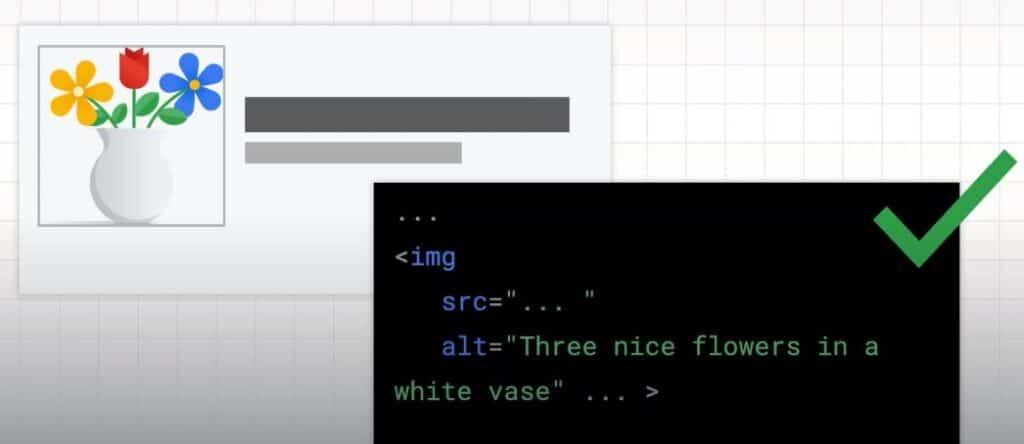 Print exemplo do atributo alt sendo utilizado corretamente para descrever a imagem de um vaso branco com três flores coloridas