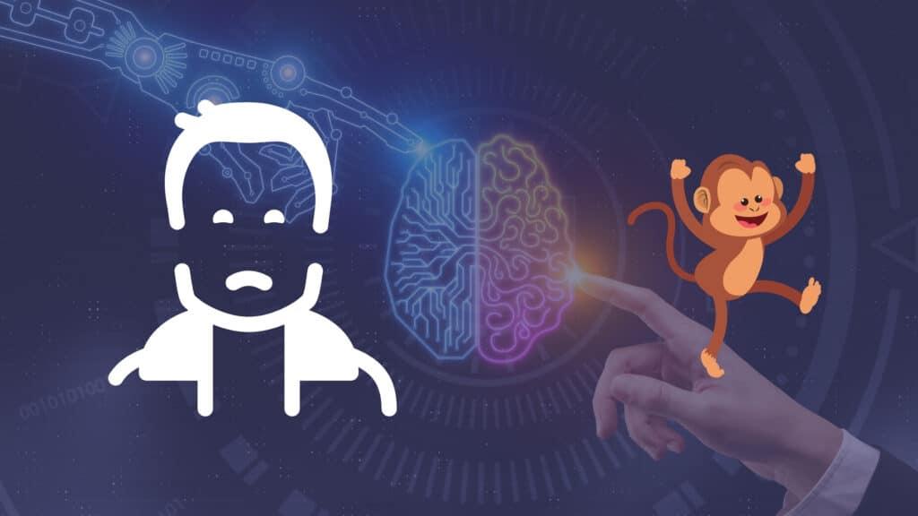 Dedos de robô e humano se tocando com ilustração de Elon Musk acima e macaco ao seu lado para representar o Chip da Neuralink