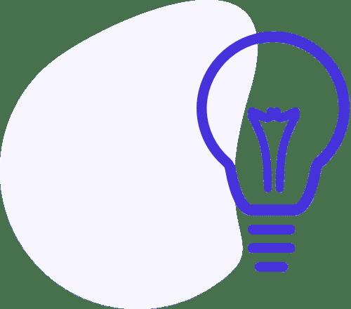 Ícone azul de lâmpada