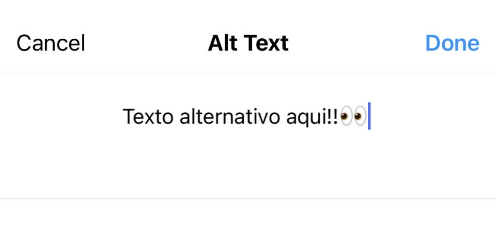 Local exato no Instagram onde preenche o texto alternativo