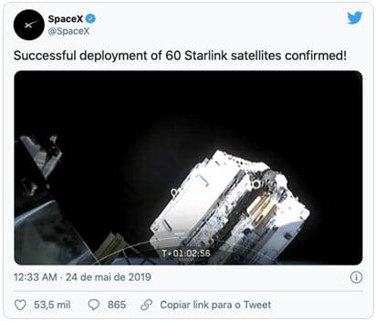 Tween SpaceX sobre satélites da Starlink