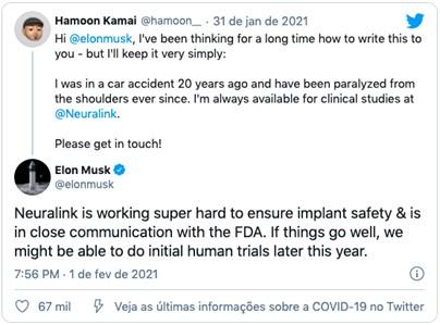 Tweet de Elon Musk sobre o teste do Chip Neuralink em humanos