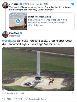 Tweet de Elon musk para Jeff Bezes sobre foguetes