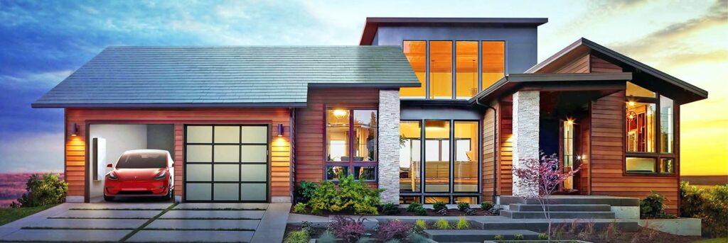 Casa moderna com carro da tesla vermelho na garagem