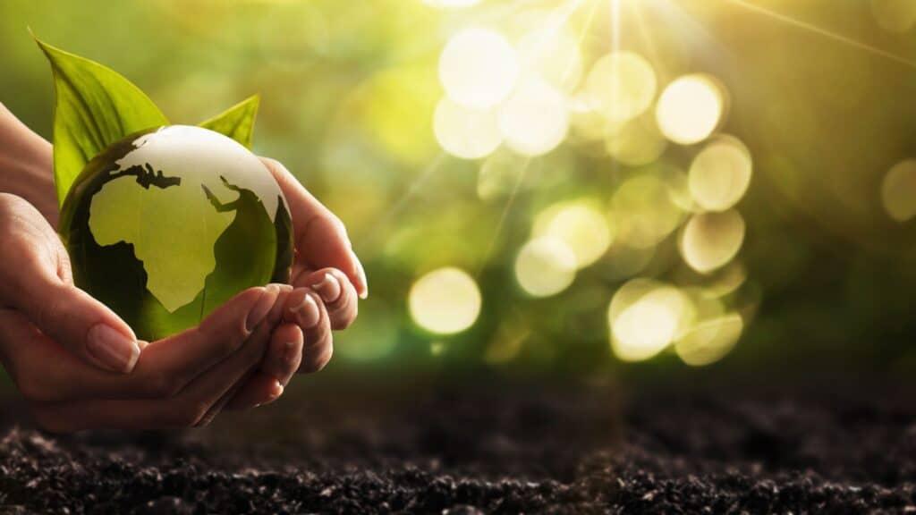 Mão segurando o mundo ao redor de plantas