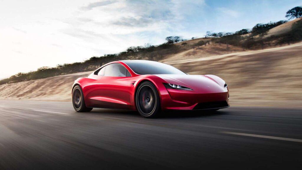 Tesla Roadster em alta velocidade